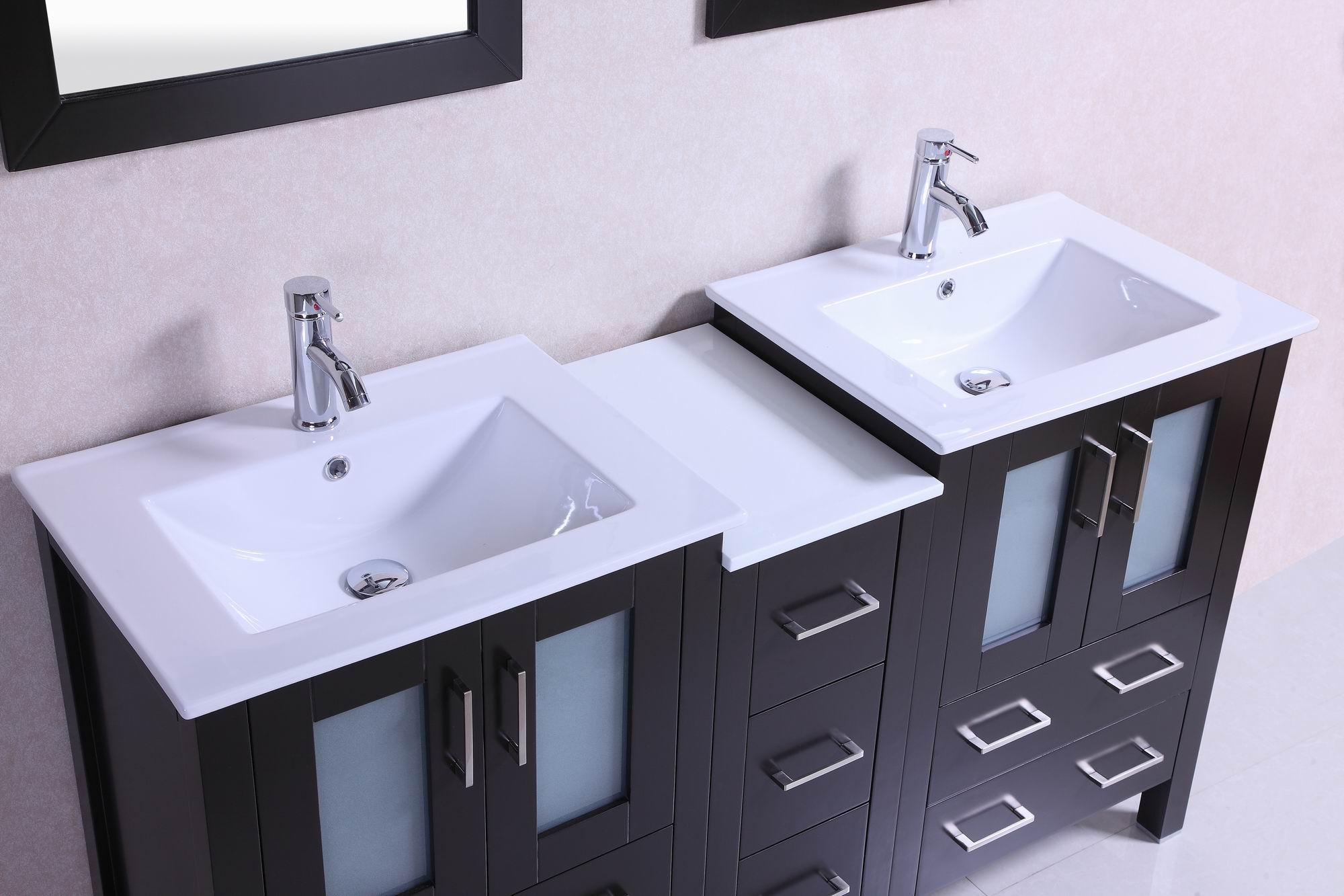 double vanity sink top. 60-inch belvedere modern espresso double bathroom vanity with ceramic top sink