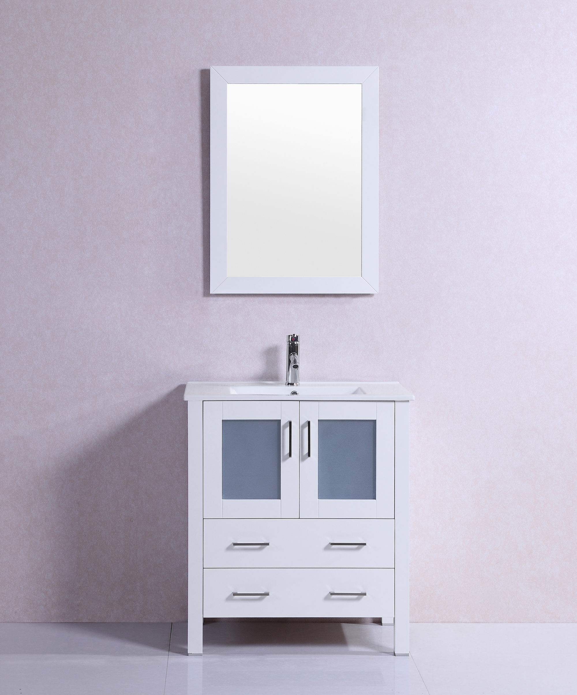 Shop 30 inch belvedere modern freestanding white bathroom vanity with ceramic top free for Freestanding 24 inch bathroom vanity