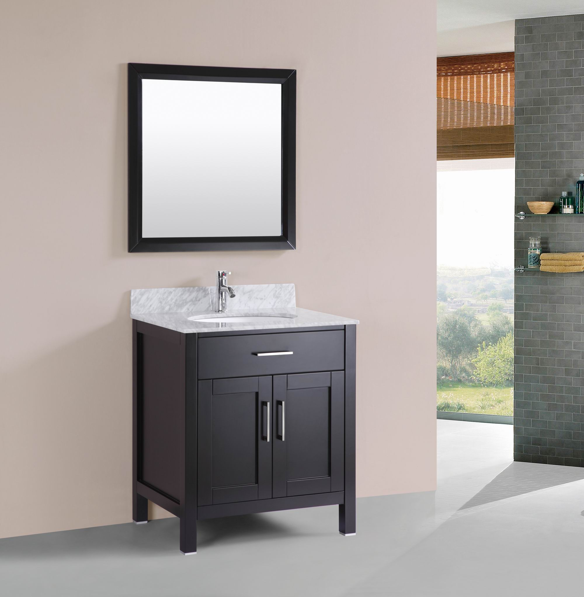 Modern bathroom cabinet - 30 Inch Belvedere Freestanding Modern Espresso Bathroom Vanity With Marble Top