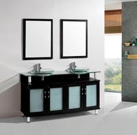 60-inch Belvedere Modern Espresso Double Bathroom Vanity with Tempered Glass Sinks
