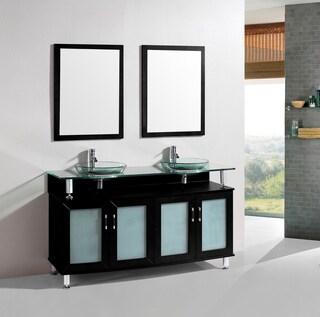 60-inch Belvedere Modern Espresso Double Bathroom Vanity with Tempered Glass Sinks