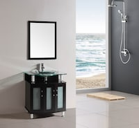 Shop Design Element Contemporary Bathroom Vanity Set with Frosted ...