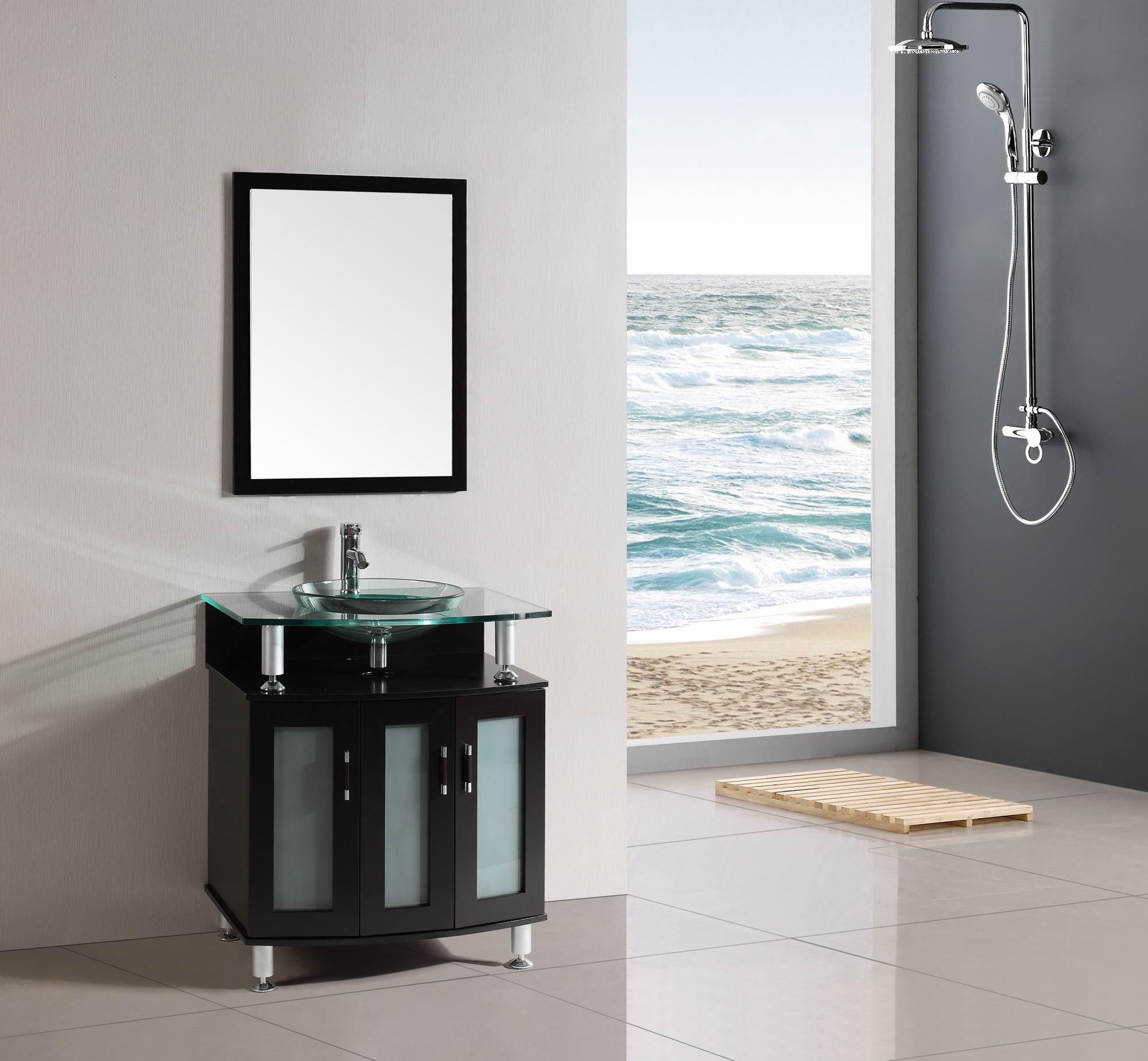 30 Inch Belvedere Modern Espresso Bathroom Vanity With Tempered Glass Top  And Basin