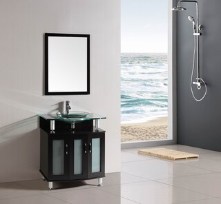 30-inch Belvedere Modern Espresso Bathroom Vanity with Tempered Glass Top and Basin