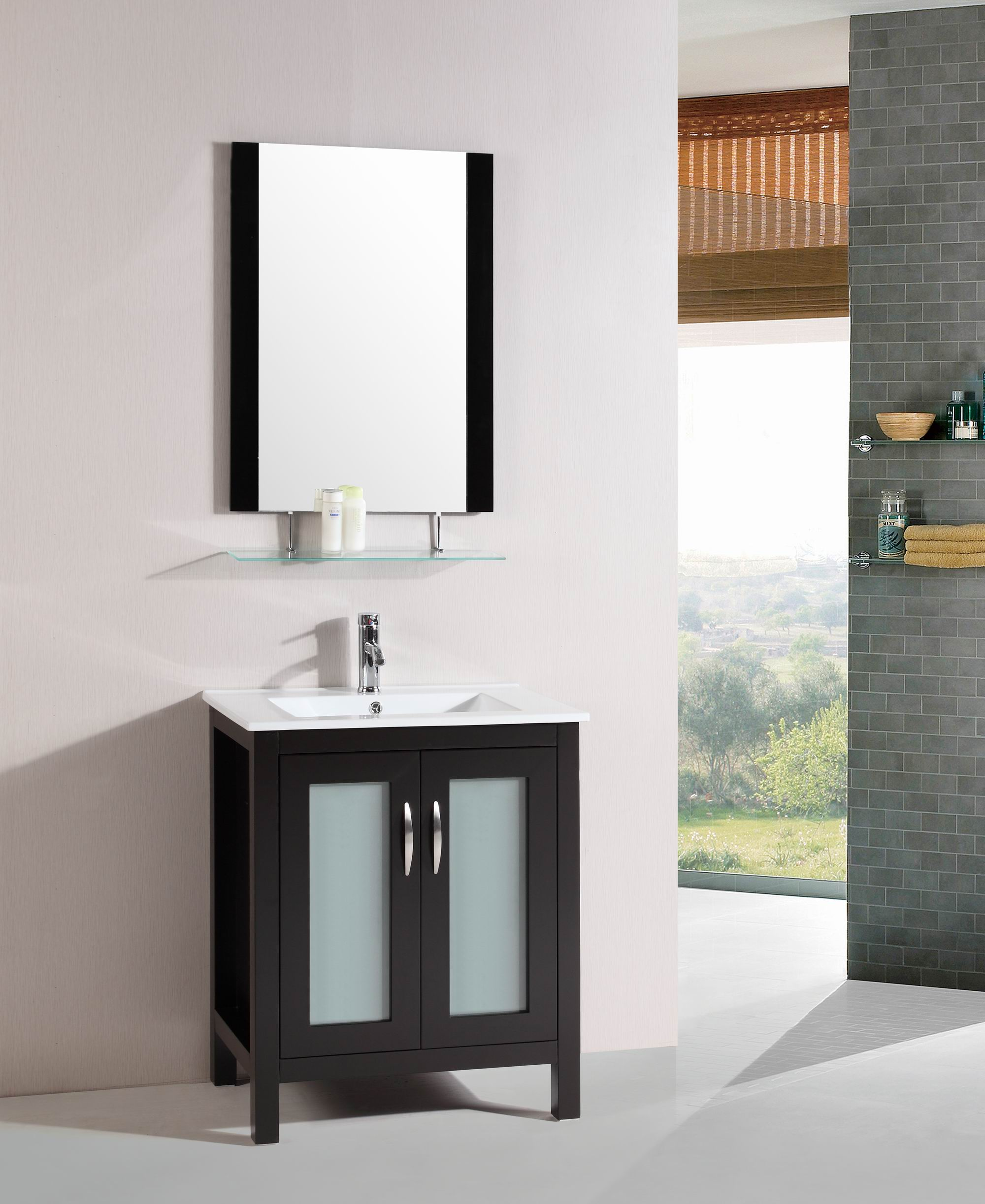 Glass Top 28 Inch Single Sink Bathroom Vanity With Mirror