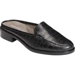 Women's Aerosoles Best Wishes Mule Black Croco Embossed Faux Leather