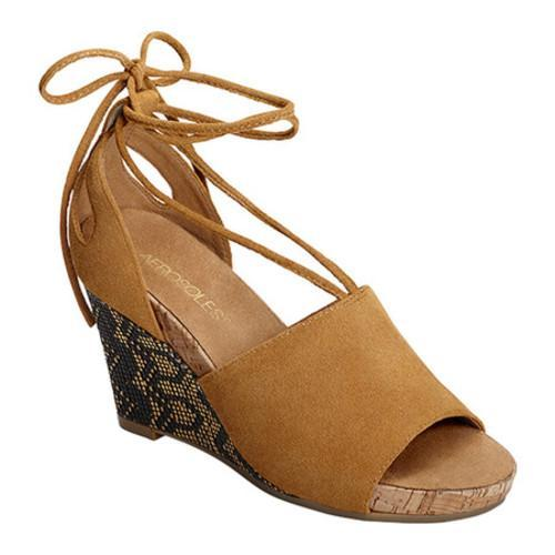 Women's Aerosoles Spring Plush Platform Wedge Sandal Dark Tan Suede