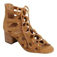 Women's Aerosoles Middle Ground Ghillie Lace Sandal Dark Tan Suede