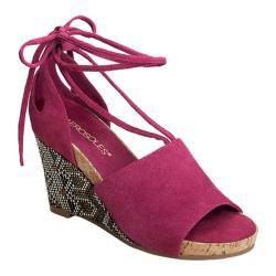 Women's Aerosoles Spring Plush Platform Wedge Sandal Dark Pink Suede