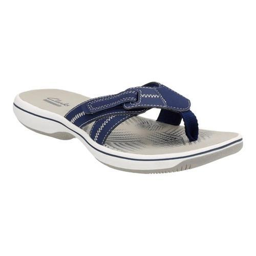 c91e1274a46b Shop Women s Clarks Brinkley Calm Thong Sandal Navy Synthetic - Free  Shipping Today - - 14165518