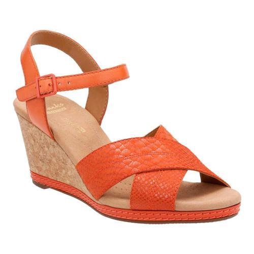 32db094829d Shop Women s Clarks Helio Latitude Wedge Sandal Orange Leather Suede - Free  Shipping Today - Overstock - 14165534