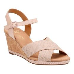 Women's Clarks Helio Latitude Wedge Sandal Nude Leather/Suede