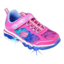 Girls' Skechers S Lights Light It Up Trainer Neon Pink/Blue