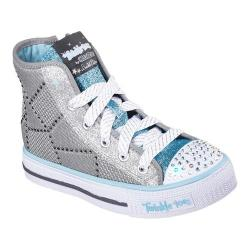 Girls' Skechers Twinkle Toes Shuffles Dazzle Dancer High Top Gray/Light Blue