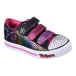 Girls' Skechers Twinkle Toes Step Up Sparkle Spice Sneaker Black/Hot Pink