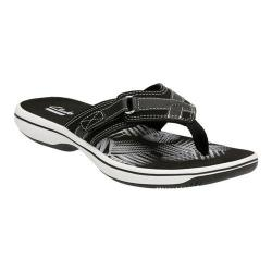 Women's Clarks Breeze Sea Flip Flop Black Synthetic