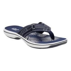 Women's Clarks Breeze Sea Flip Flop Navy Synthetic
