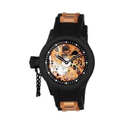 Men's Invicta Russian Diver 1847 Black Polyurethane/Gunmetal/Rose Gold