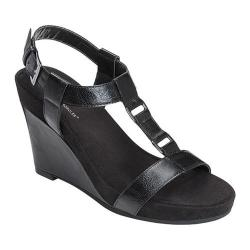 Women's A2 by Aerosoles Plush Nite Wedge Sandal Black Faux Leather