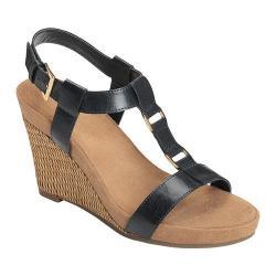 Women's A2 by Aerosoles Plush Nite Wedge Sandal Navy Faux Leather