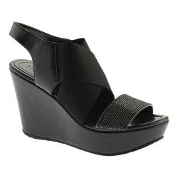 Women's Kenneth Cole Reaction Sole-Less Wedge Sandal Black Leather/Textile