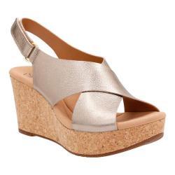 Women's Clarks Annadel Eirwyn Slingback Wedge Sandal Gold Metallic Leather