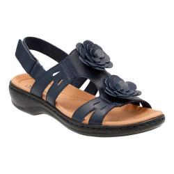 Women's Clarks Leisa Claytin Strappy Sandal Navy Leather