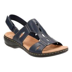 Women's Clarks Leisa Lakelyn Cutout Slingback Navy Leather