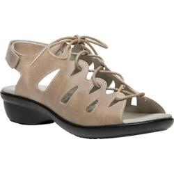 Women's Propet Amelia Ghillie Lace Up Sandal Oyster Full Grain Leather