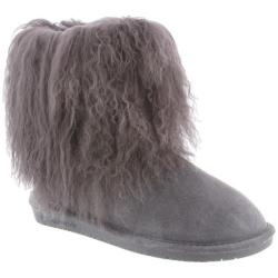 Women's Bearpaw Boo Solids Furry Boot Charcoal Curly Lamb Hair/Cow Suede
