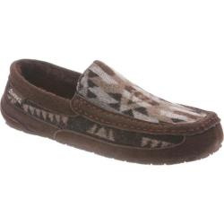 Men's Bearpaw Peeta Solids Moccasin Chocolate Aztec Wool