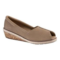 Women's Grasshoppers Garnet Peep Toe Wedge Taupe Canvas