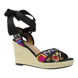Women's J. Renee Alysbeach Wedge Sandal Black/Bright Multi Fiesta Floral Fabric/Grosgrain
