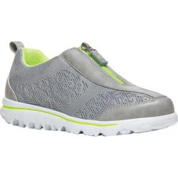 Women's Propet TravelActiv Zip Up Sneaker Silver/Lime Mesh