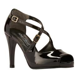Women's Rose Petals by Walking Cradles Lissa Ankle Strap Sandal Black Patent Leather