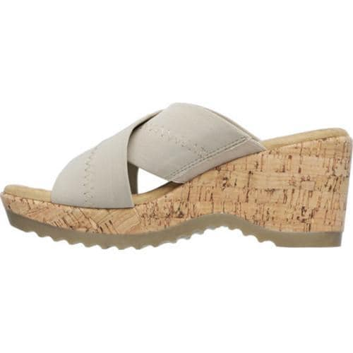 Women's Skechers Bohemias Flower Crown Slide Natural - Thumbnail 2