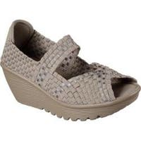 Women's Skechers Parallel Midsummers Weave Peep-Toe Wedge Taupe