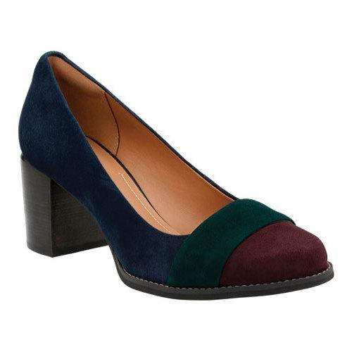 Women's Clarks Tarah Brae Pump Navy Combination Goat Suede