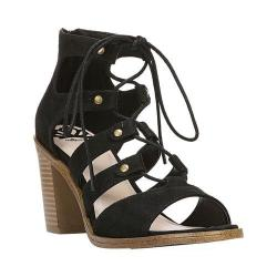 Women's Fergalicious Mambo Ghillie Sandal Black Oiled Fabric