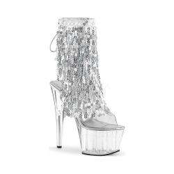 Women's Pleaser Adore 1017SQF Open-Toe Bootie Clear PVC-Sliver Hologram/Clear