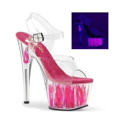 Women's Pleaser Adore 708FLM Platform Sandal Clear PVC/Clear-Hot Pink