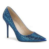 Women's Pleaser Classique 20 Pump Navy Blue Glittery Lamé Fabric