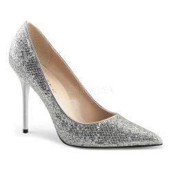 Women's Pleaser Classique 20 Pump Silver Glittery Lamé Fabric