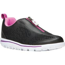 Women's Propet TravelActiv Zip Up Sneaker Black/Berry Mesh