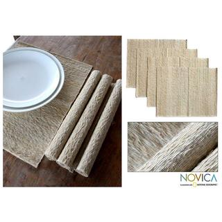 Handmade Set of 4 Cotton 'Nature's Truth' Placemats (Indonesia) (As Is Item)