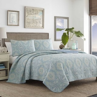 Tommy Bahama Turtle Cove Blue Cotton Quilt Set Full/ Queen Size (As Is Item)
