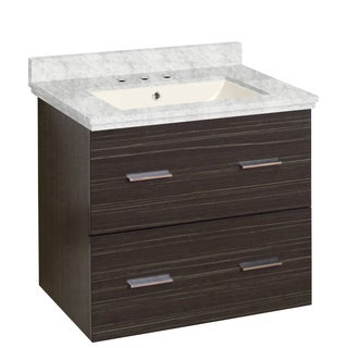 23.75-in. W Wall Mount Dawn Grey Vanity Set For 3H8-in. Drilling Bianca Carara Top Biscuit UM Sink
