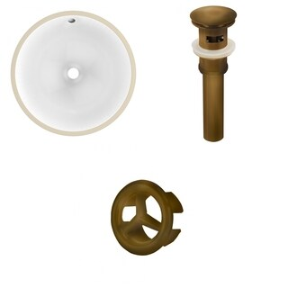 15.75-in. W CUPC Round Undermount Sink Set In White - Antique Brass Hardware - Overflow Drain Incl.