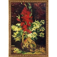 Van Gogh Vase with Gladioli and Carnations Hand Painted Reproduction