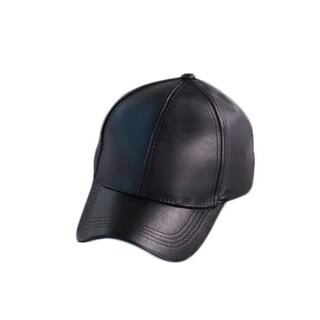 Faux Leather cap (Option: Brown)